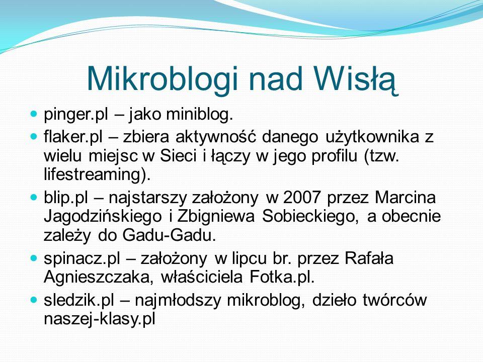 Mikroblogi nad Wisłą pinger.pl – jako miniblog. flaker.pl – zbiera aktywność danego użytkownika z wielu miejsc w Sieci i łączy w jego profilu (tzw. li