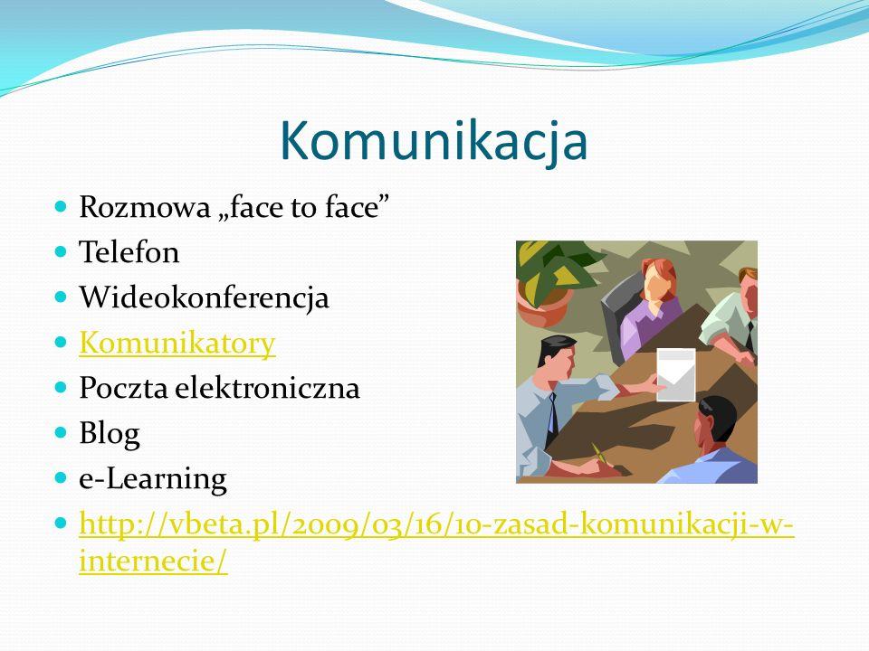 Komunikacja Rozmowa face to face Telefon Wideokonferencja Komunikatory Poczta elektroniczna Blog e-Learning http://vbeta.pl/2009/03/16/10-zasad-komuni