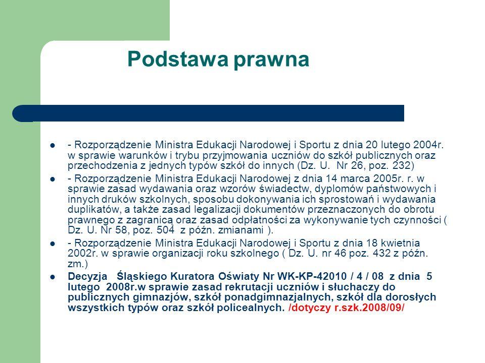 Podstawa prawna - Rozporządzenie Ministra Edukacji Narodowej i Sportu z dnia 20 lutego 2004r. w sprawie warunków i trybu przyjmowania uczniów do szkół