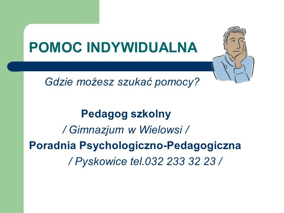 POMOC INDYWIDUALNA Gdzie możesz szukać pomocy? Pedagog szkolny / Gimnazjum w Wielowsi / Poradnia Psychologiczno-Pedagogiczna / Pyskowice tel.032 233 3