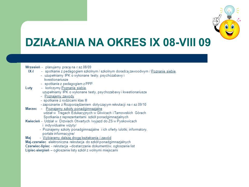 DZIAŁANIA NA OKRES IX 08-VIII 09 Wrzesień - planujemy pracę na r.sz.08/09 IX-I - spotkanie z pedagogiem szkolnym / szkolnym doradcą zawoodwym / Poznan