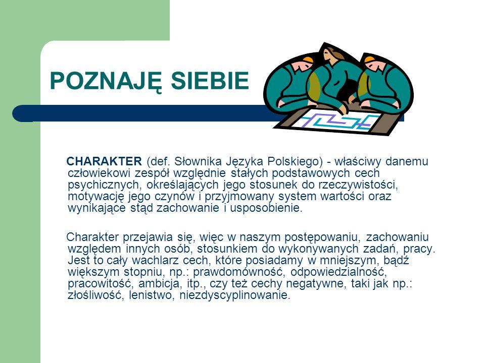 POZNAJĘ SIEBIE CHARAKTER (def. Słownika Języka Polskiego) - właściwy danemu człowiekowi zespół względnie stałych podstawowych cech psychicznych, okreś