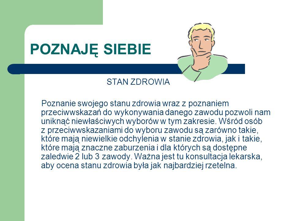 POZNAJĘ ZAWODY Dokładne portale edukacyjne i internetowe bazy danych www.psz.praca.gov.pl www.aci.pl www.ohpdlaszkoly.pl www.pracuj.pl http://praca.korba.pl http://praca.gazeta.pl www.abcpraca.pl www.slaska.ohp.pl www.kuratorium.katowice.pl sio.mein.gov.pl www,nauka.gov.pl www.ris.praca.gov.pl www.sfbk.us.edu.pl