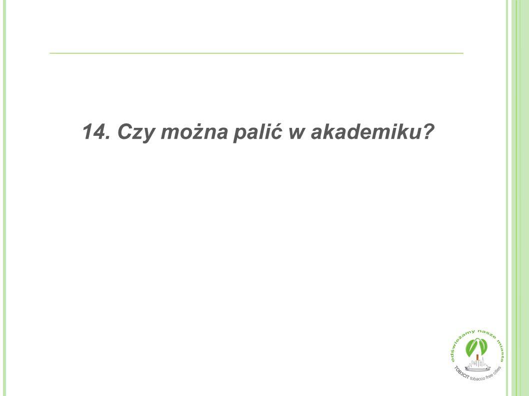 14. Czy można palić w akademiku?