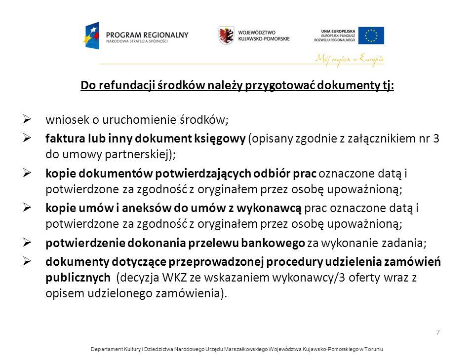 7 Do refundacji środków należy przygotować dokumenty tj: wniosek o uruchomienie środków; faktura lub inny dokument księgowy (opisany zgodnie z załączn