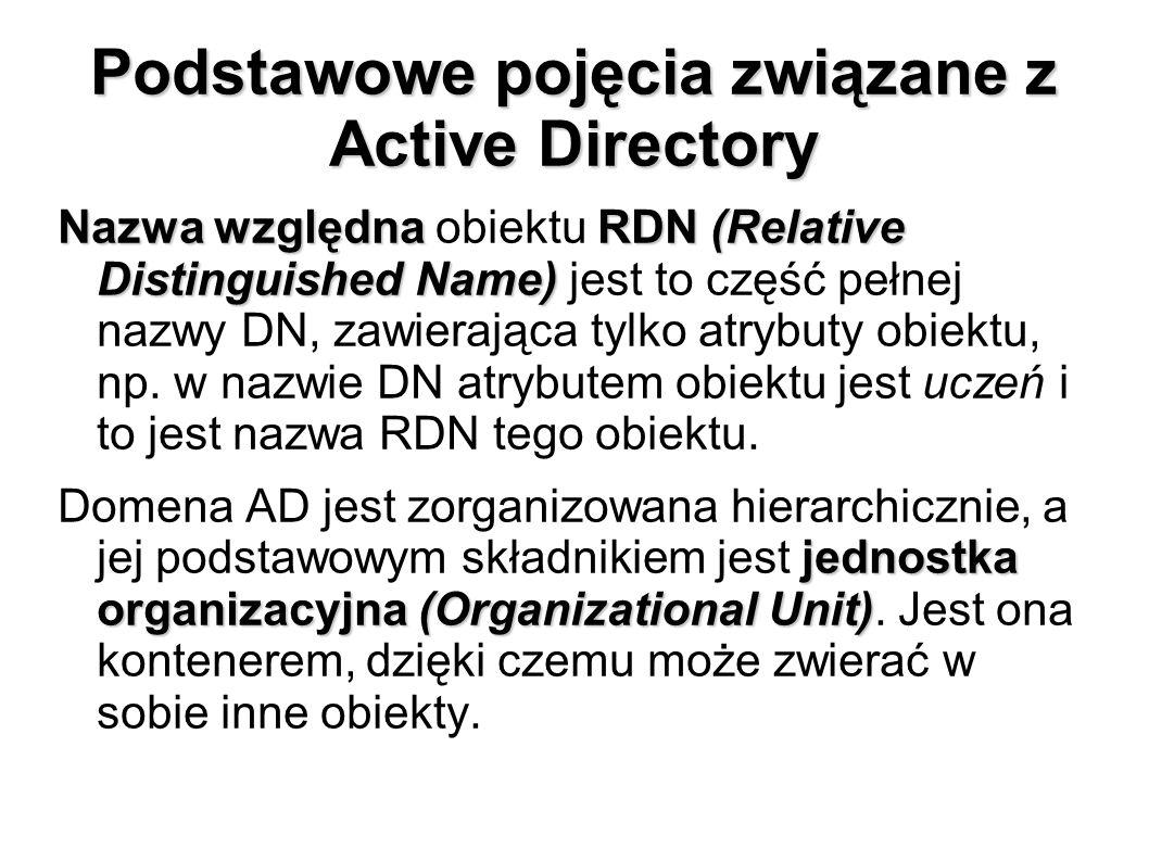 Podstawowe pojęcia związane z Active Directory Nazwa względnaRDN(Relative Distinguished Name) Nazwa względna obiektu RDN (Relative Distinguished Name)