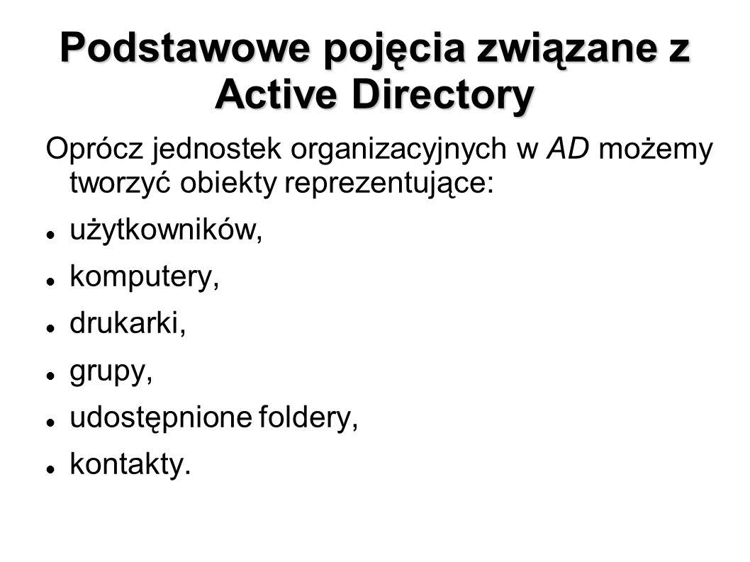 Podstawowe pojęcia związane z Active Directory Oprócz jednostek organizacyjnych w AD możemy tworzyć obiekty reprezentujące: użytkowników, komputery, d