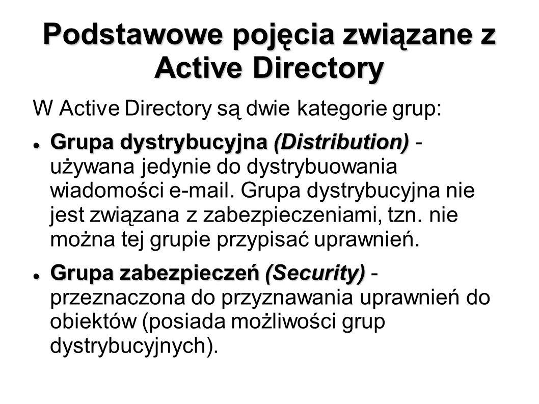 Podstawowe pojęcia związane z Active Directory W Active Directory są dwie kategorie grup: Grupa dystrybucyjna (Distribution) Grupa dystrybucyjna (Dist