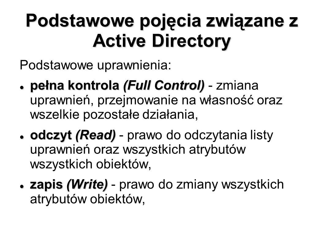Podstawowe pojęcia związane z Active Directory Podstawowe uprawnienia: pełna kontrola (Full Control) pełna kontrola (Full Control) - zmiana uprawnień,