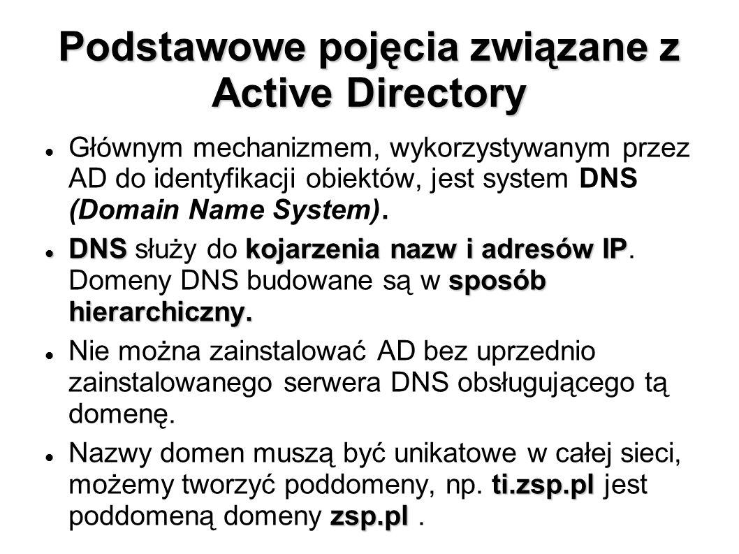 Podstawowe pojęcia związane z Active Directory Głównym mechanizmem, wykorzystywanym przez AD do identyfikacji obiektów, jest system DNS (Domain Name S