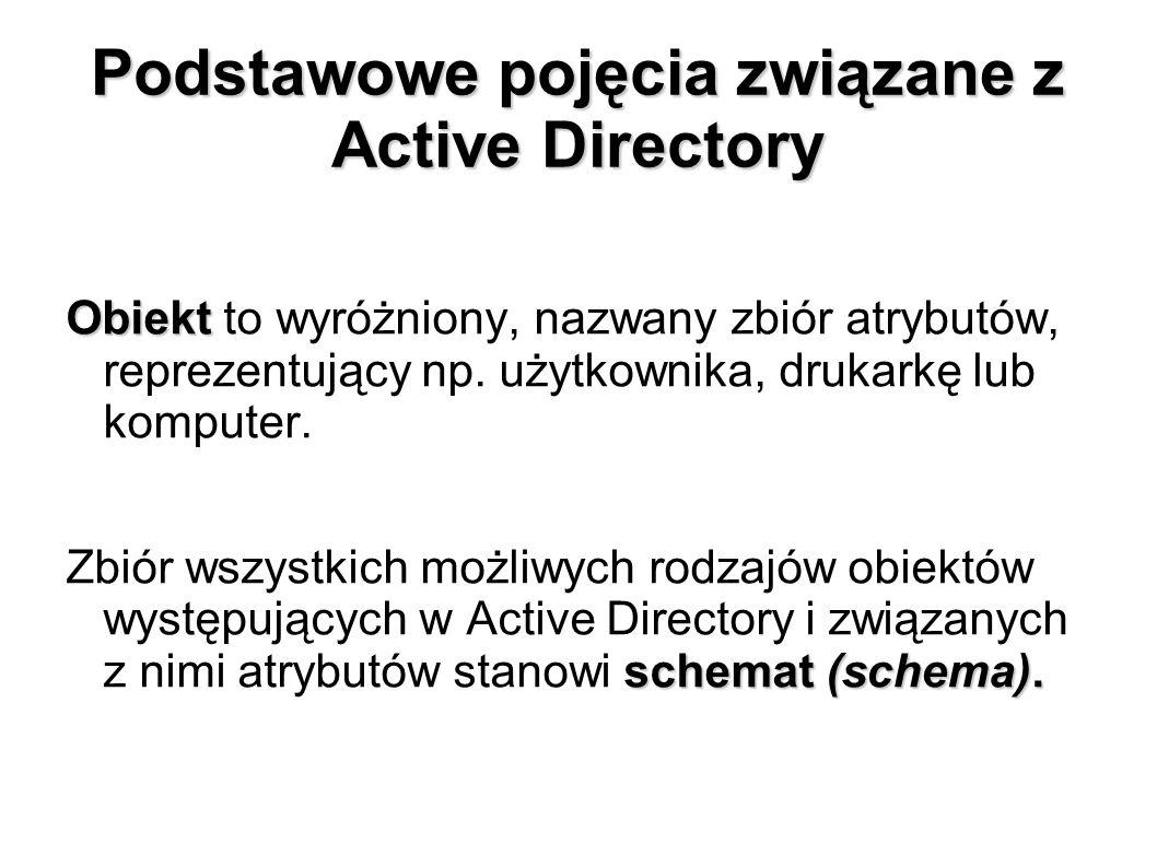 Podstawowe pojęcia związane z Active Directory Obiekt Obiekt to wyróżniony, nazwany zbiór atrybutów, reprezentujący np. użytkownika, drukarkę lub komp