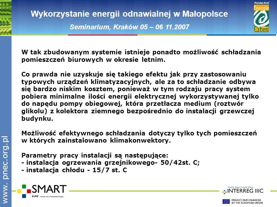 www.pnec.org.pl Polska Sieć www. pnec.org.pl Wykorzystanie energii odnawialnej w Małopolsce Seminarium, Kraków 05 – 06 11.2007 W tak zbudowanym system