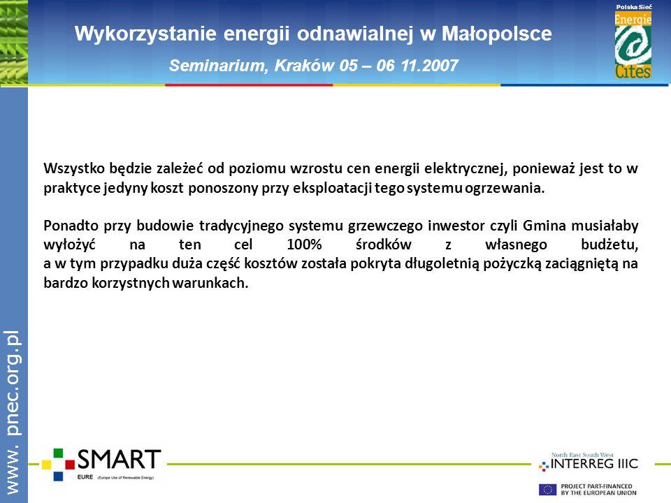www.pnec.org.pl Polska Sieć www. pnec.org.pl Wykorzystanie energii odnawialnej w Małopolsce Seminarium, Kraków 05 – 06 11.2007 Wszystko będzie zależeć