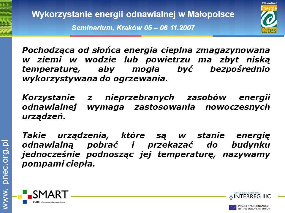 www.pnec.org.pl Polska Sieć www. pnec.org.pl Wykorzystanie energii odnawialnej w Małopolsce Seminarium, Kraków 05 – 06 11.2007 Pochodząca od słońca en