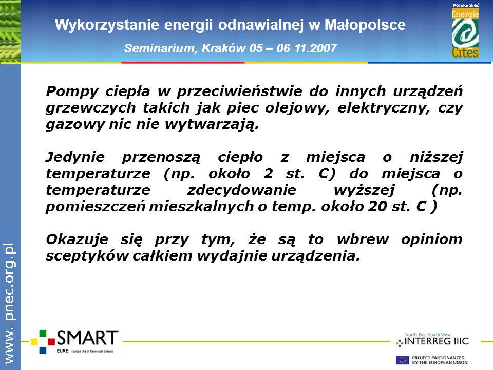 www.pnec.org.pl Polska Sieć www. pnec.org.pl Wykorzystanie energii odnawialnej w Małopolsce Seminarium, Kraków 05 – 06 11.2007 Pompy ciepła w przeciwi
