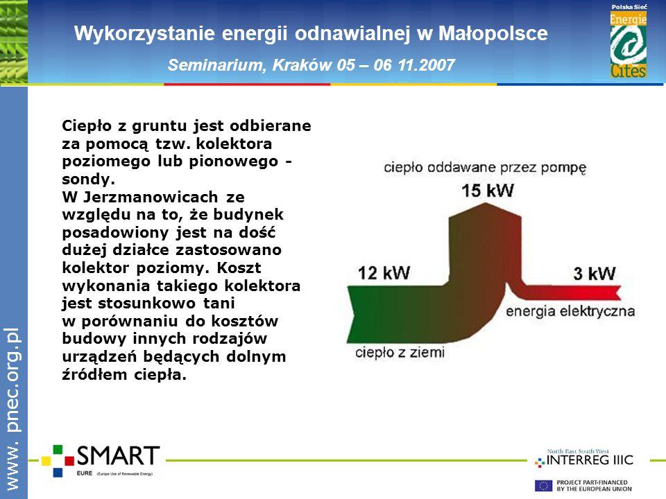 www.pnec.org.pl Polska Sieć www. pnec.org.pl Wykorzystanie energii odnawialnej w Małopolsce Seminarium, Kraków 05 – 06 11.2007 Ciepło z gruntu jest od