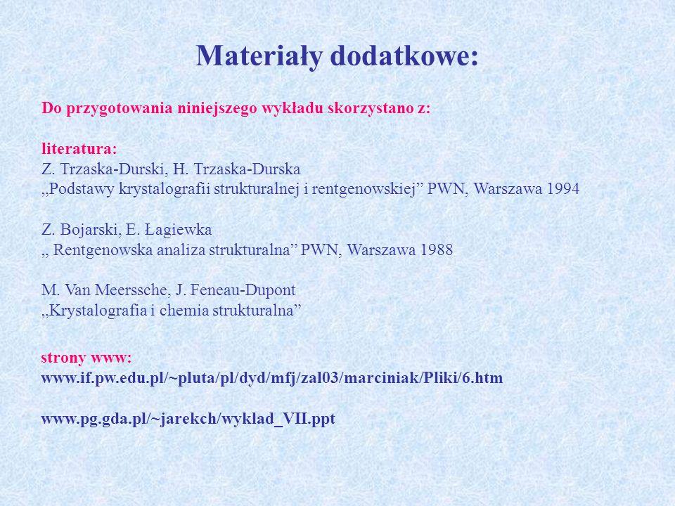 Materiały dodatkowe: Do przygotowania niniejszego wykładu skorzystano z: literatura: Z. Trzaska-Durski, H. Trzaska-Durska Podstawy krystalografii stru