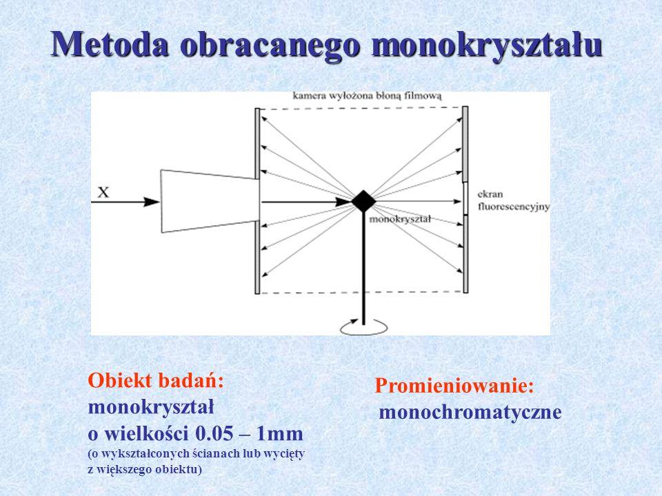 Metoda obracanego monokryształu Obiekt badań: monokryształ o wielkości 0.05 – 1mm (o wykształconych ścianach lub wycięty z większego obiektu) Promieni