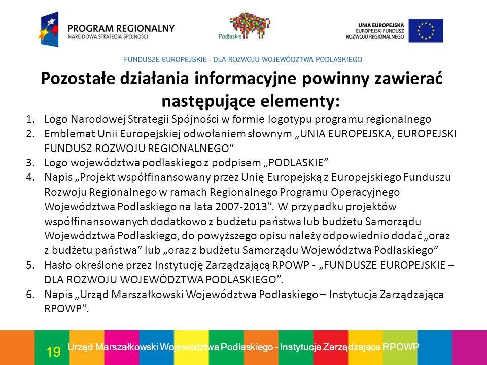 19 Pozostałe działania informacyjne powinny zawierać następujące elementy: 1.Logo Narodowej Strategii Spójności w formie logotypu programu regionalneg