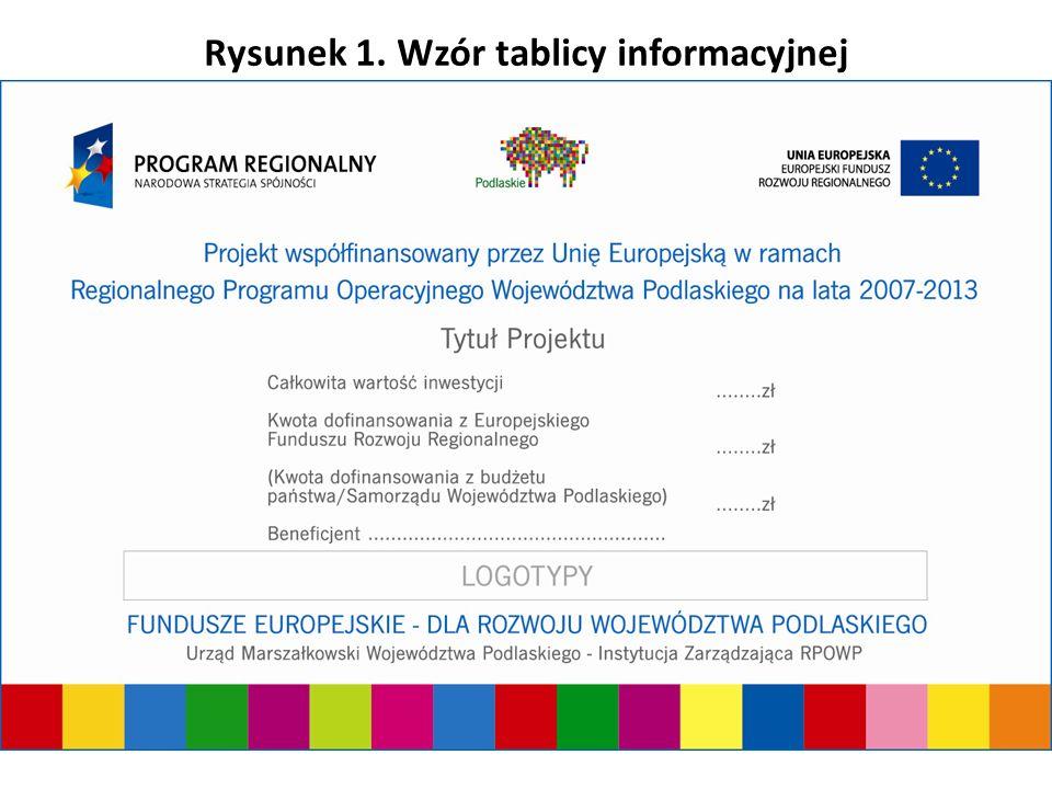 Urząd Marszałkowski Województwa Podlaskiego - Instytucja Zarządzająca RPOWP Rysunek 1. Wzór tablicy informacyjnej