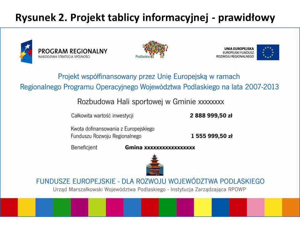 Urząd Marszałkowski Województwa Podlaskiego - Instytucja Zarządzająca RPOWP Rysunek 2. Projekt tablicy informacyjnej - prawidłowy