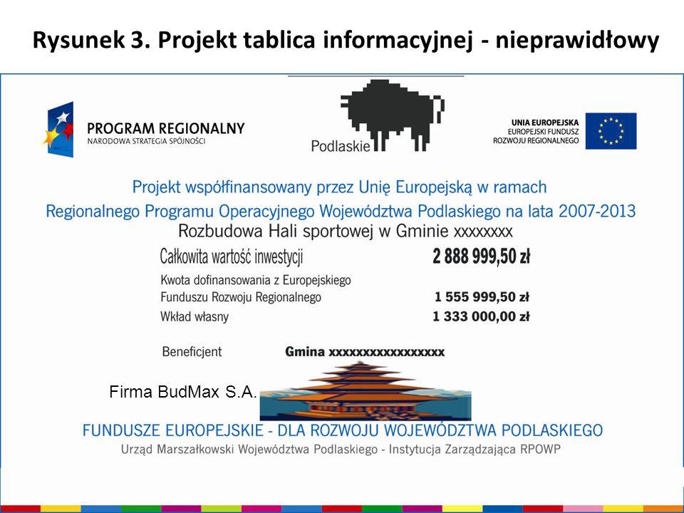 Urząd Marszałkowski Województwa Podlaskiego - Instytucja Zarządzająca RPOWP Rysunek 3. Projekt tablica informacyjnej - nieprawidłowy Firma BudMax S.A.