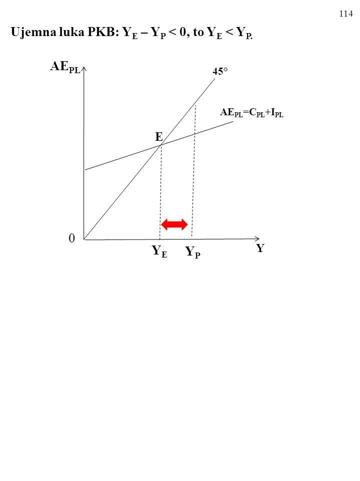 113 UJEMNA I DODATNIA LUKA PKB Kiedy Y E Y P, luka PKB równa się Y E – Y P.