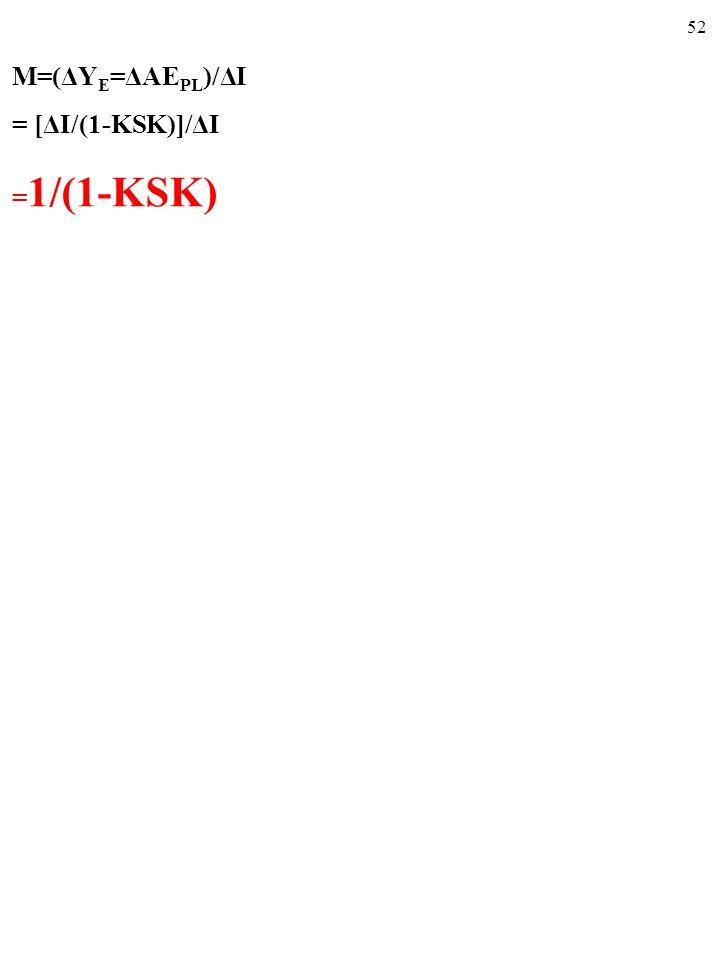 51 M=(ΔY E =ΔAE PL )/ΔI = [ΔI/(1-KSK)]/ΔI