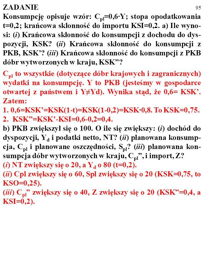 94 ZADANIE Konsumpcję opisuje wzór: C pl =0,6·Y; stopa opodatkowania t=0,2; krańcowa skłonność do importu KSI=0,2. a) Ile wyno- si: (i) Krańcowa skłon