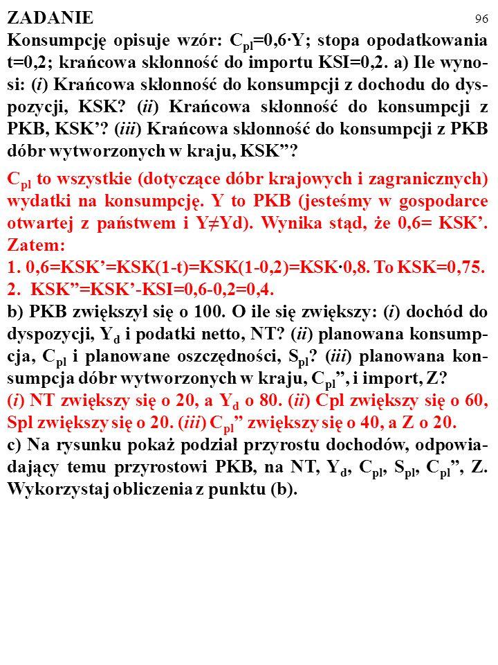 95 ZADANIE Konsumpcję opisuje wzór: C pl =0,6·Y; stopa opodatkowania t=0,2; krańcowa skłonność do importu KSI=0,2. a) Ile wyno- si: (i) Krańcowa skłon