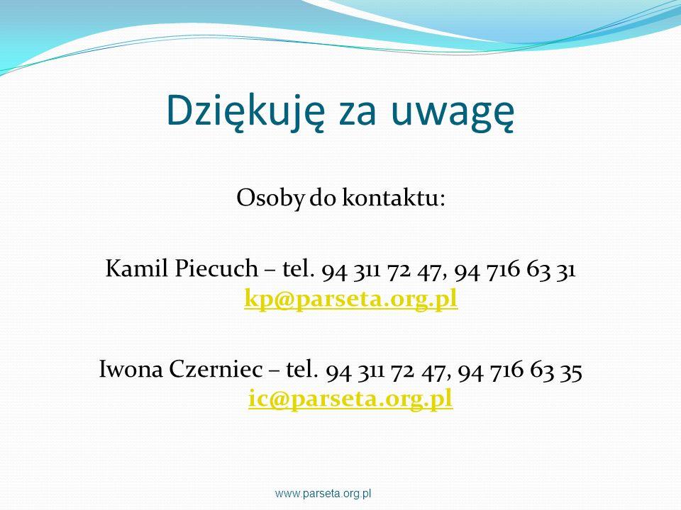 Dziękuję za uwagę Osoby do kontaktu: Kamil Piecuch – tel. 94 311 72 47, 94 716 63 31 kp@parseta.org.pl kp@parseta.org.pl Iwona Czerniec – tel. 94 311