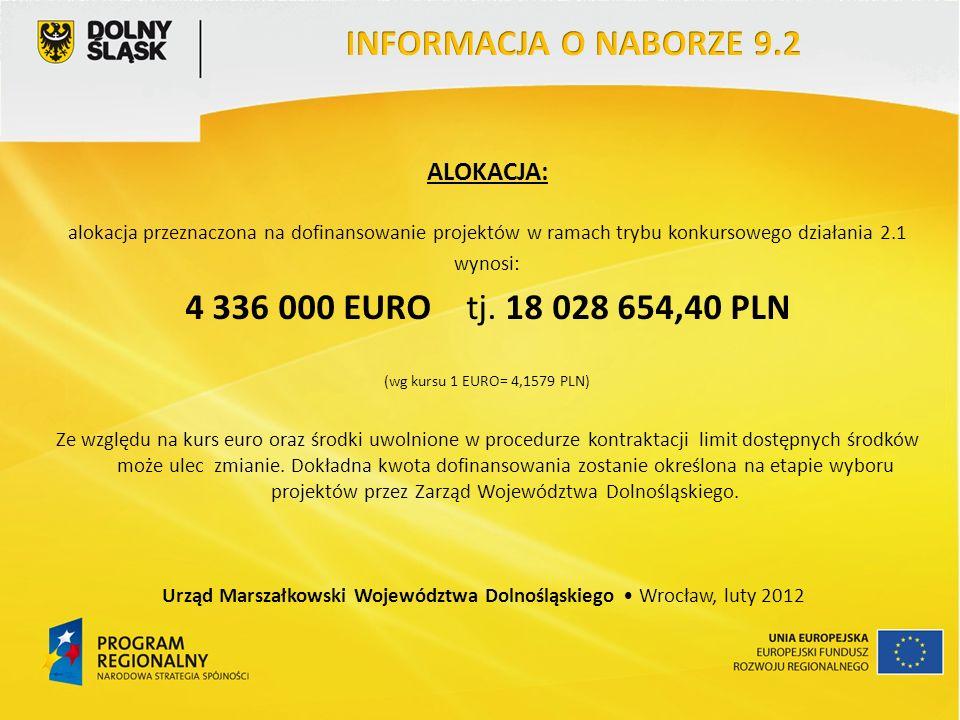 ALOKACJA: alokacja przeznaczona na dofinansowanie projektów w ramach trybu konkursowego działania 2.1 wynosi: 4 336 000 EURO tj. 18 028 654,40 PLN (wg