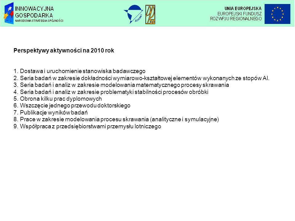 Perspektywy aktywności na 2010 rok 1. Dostawa i uruchomienie stanowiska badawczego 2. Seria badań w zakresie dokładności wymiarowo-kształtowej element