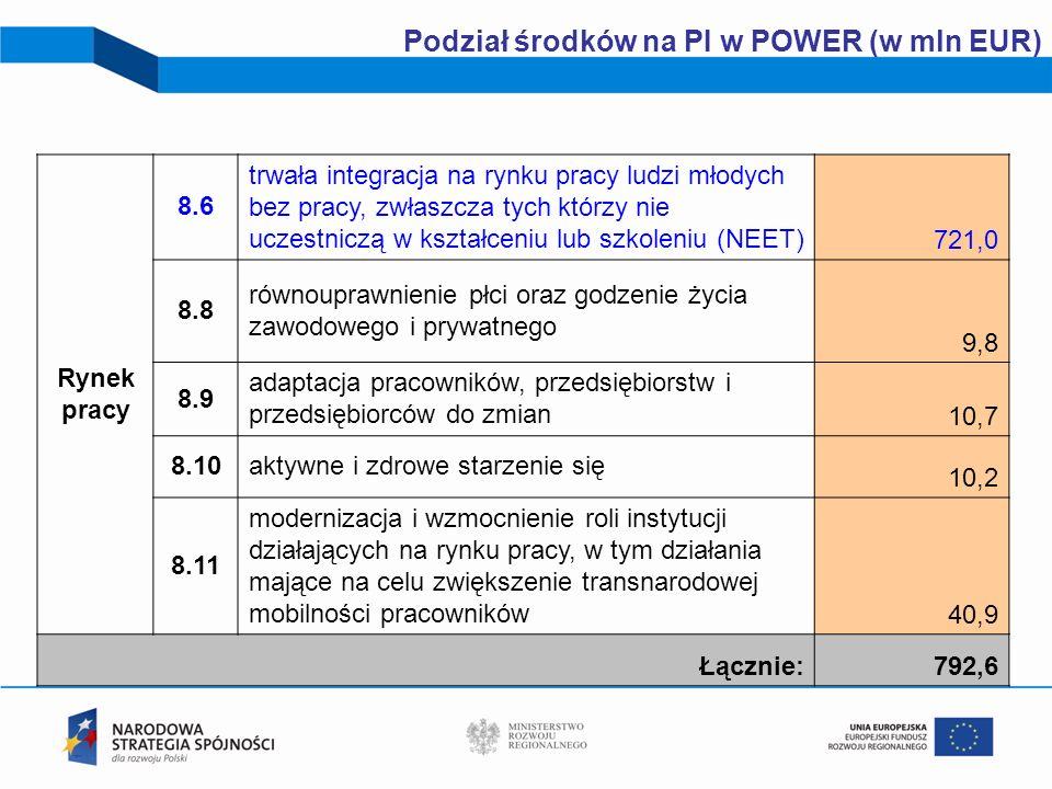 18 Podział środków na PI w POWER (w mln EUR) Rynek pracy 8.6 trwała integracja na rynku pracy ludzi młodych bez pracy, zwłaszcza tych którzy nie uczes