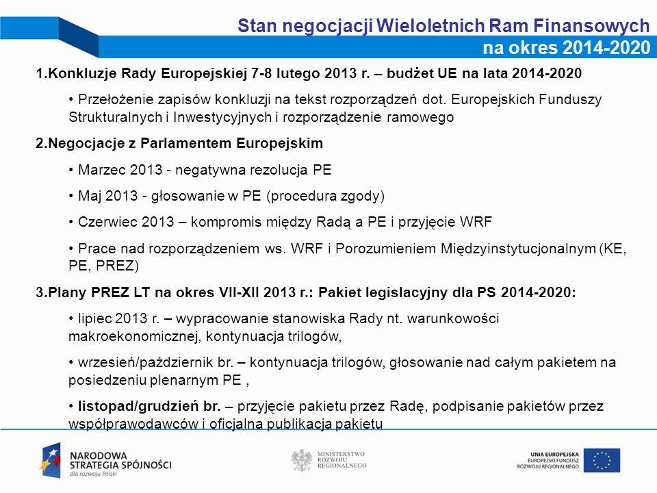 2 Stan negocjacji Wieloletnich Ram Finansowych na okres 2014-2020 1.Konkluzje Rady Europejskiej 7-8 lutego 2013 r. – budżet UE na lata 2014-2020 Przeł