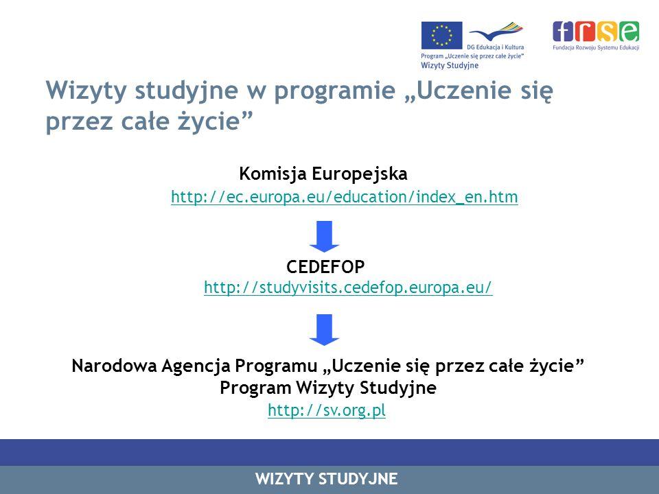 Wizyty studyjne w programie Uczenie się przez całe życie WIZYTY STUDYJNE Komisja Europejska http://ec.europa.eu/education/index_en.htm CEDEFOP http://