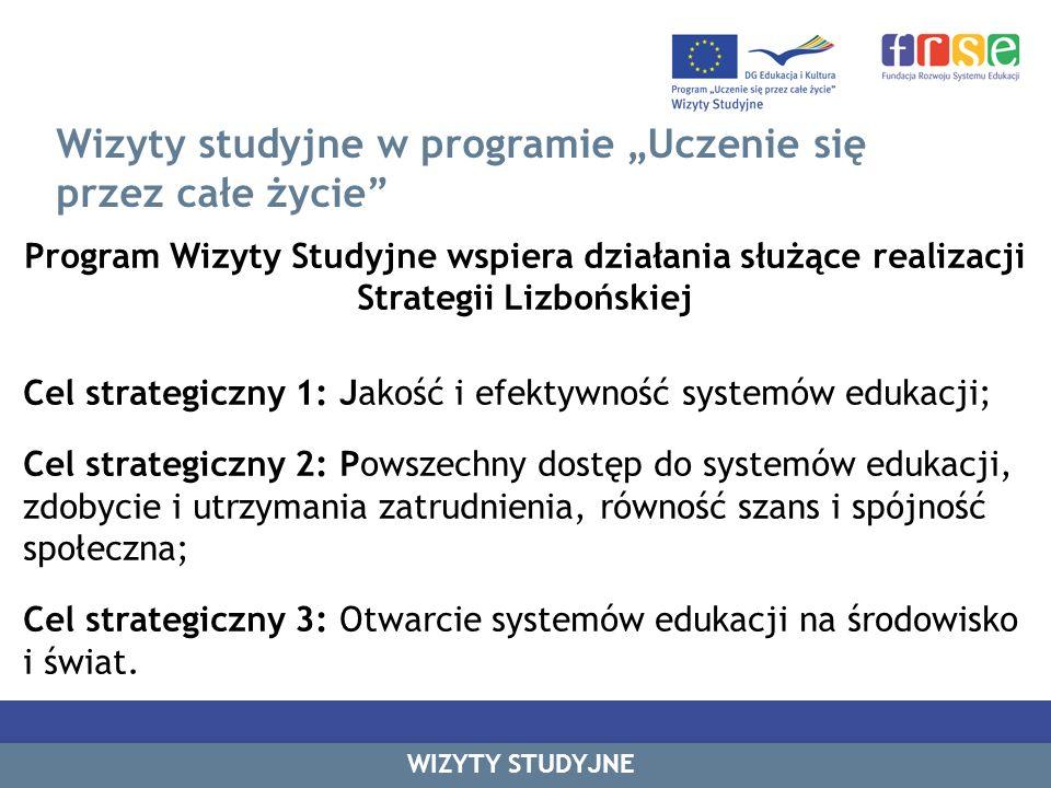 Wizyty studyjne w programie Uczenie się przez całe życie Program Wizyty Studyjne wspiera działania służące realizacji Strategii Lizbońskiej Cel strate