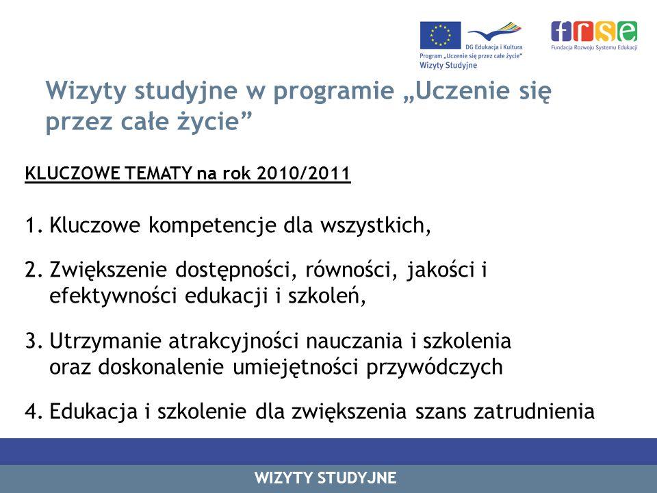 Wizyty studyjne w programie Uczenie się przez całe życie KLUCZOWE TEMATY na rok 2010/2011 1.Kluczowe kompetencje dla wszystkich, 2.Zwiększenie dostępn