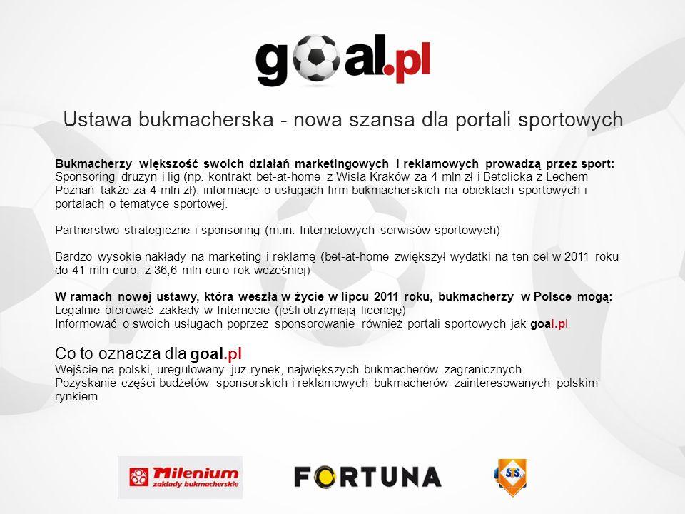 Ustawa bukmacherska - nowa szansa dla portali sportowych Bukmacherzy większość swoich działań marketingowych i reklamowych prowadzą przez sport: Spons