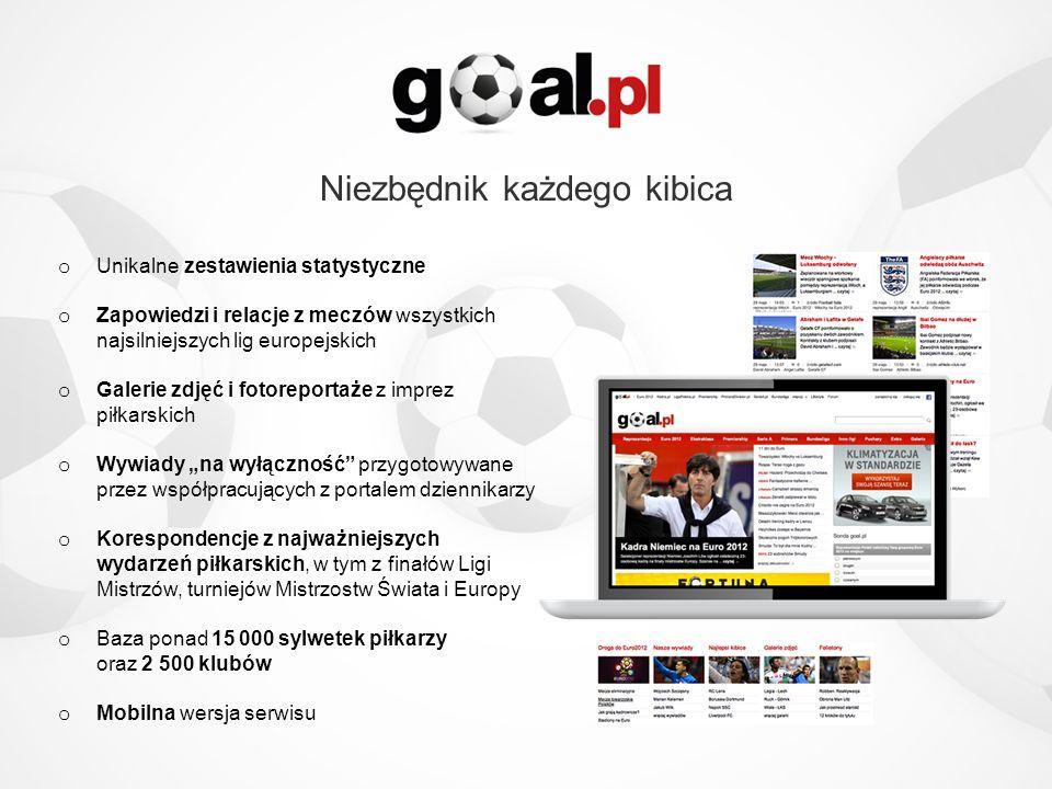 Strategia rozwoju o Goal.pl zamierza rozwijać się zarówno organicznie, jak i przez akwizycje o Główny cel to zwiększenie zasięgu, korzystając z szybkiego rozwoju rynku piłkarskiego w Polsce i popularności EURO 2012 o Planowane 2-3 akwizycje, które znacząco zwiększą zasięg o Nowe produkty: e-commerce artykułów sportowych oraz biletów/karnetów na mecze sportowy portal społecznościowy na bazie użytkowników goal.pl o Dynamiczny wzrost wyników finansowych