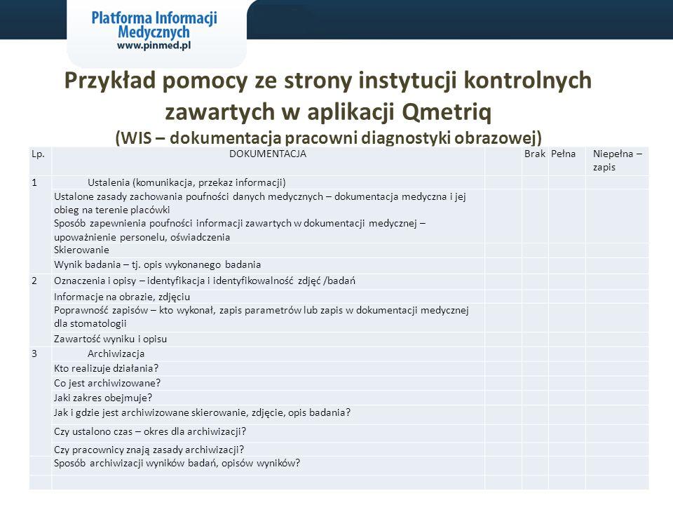 Przykład pomocy ze strony instytucji kontrolnych zawartych w aplikacji Qmetriq (WIS – dokumentacja pracowni diagnostyki obrazowej) Lp.DOKUMENTACJA Bra
