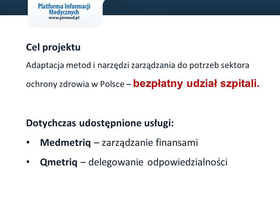 2 Cel projektu Adaptacja metod i narzędzi zarządzania do potrzeb sektora ochrony zdrowia w Polsce – bezpłatny udział szpitali. Dotychczas udostępnione