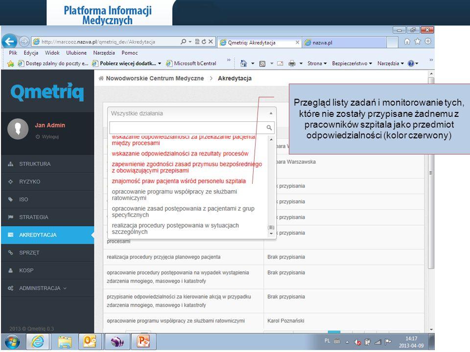 www.pinmed.pl 22 Przegląd listy zadań i monitorowanie tych, które nie zostały przypisane żadnemu z pracowników szpitala jako przedmiot odpowiedzialnoś