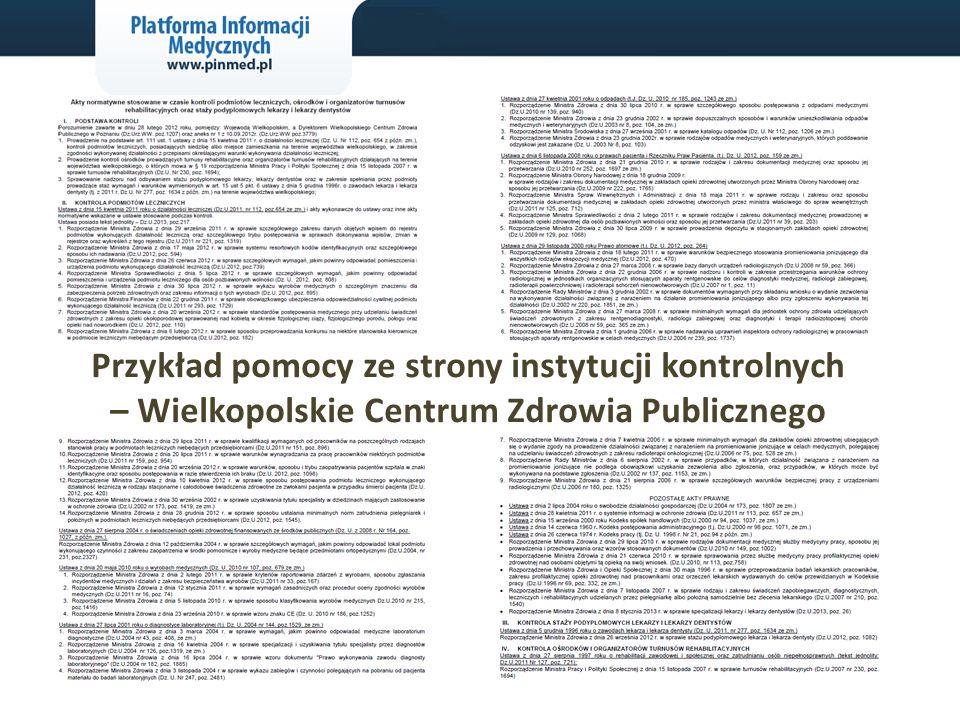 Przykład pomocy ze strony instytucji kontrolnych – Wielkopolskie Centrum Zdrowia Publicznego