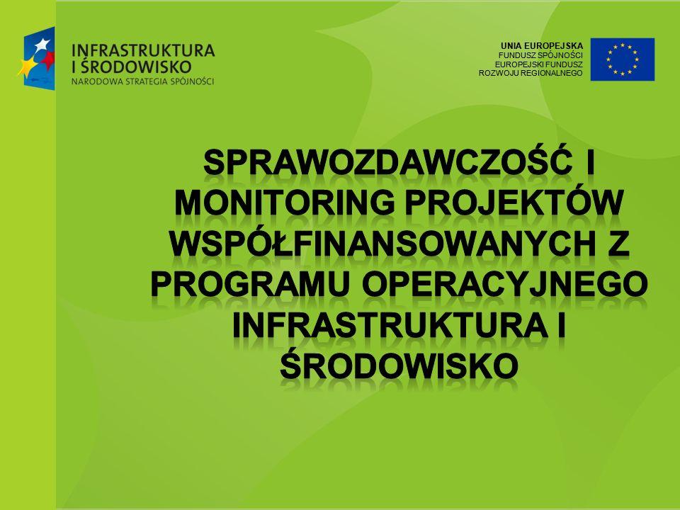 UNIA EUROPEJSKA FUNDUSZ SPÓJNOŚCI EUROPEJSKI FUNDUSZ ROZWOJU REGIONALNEGO 12 7 grudnia 2011Ministerstwo Środowiska Terminy sprawozdawczości Beneficjent: beneficjent co najmniej raz na trzy miesiące sporządza i przekazuje do IW wniosek o płatność, z rozbudowaną częścią sprawozdawczą, biorąc pod uwagę datę podpisania umowy / decyzji o dofinansowaniu.