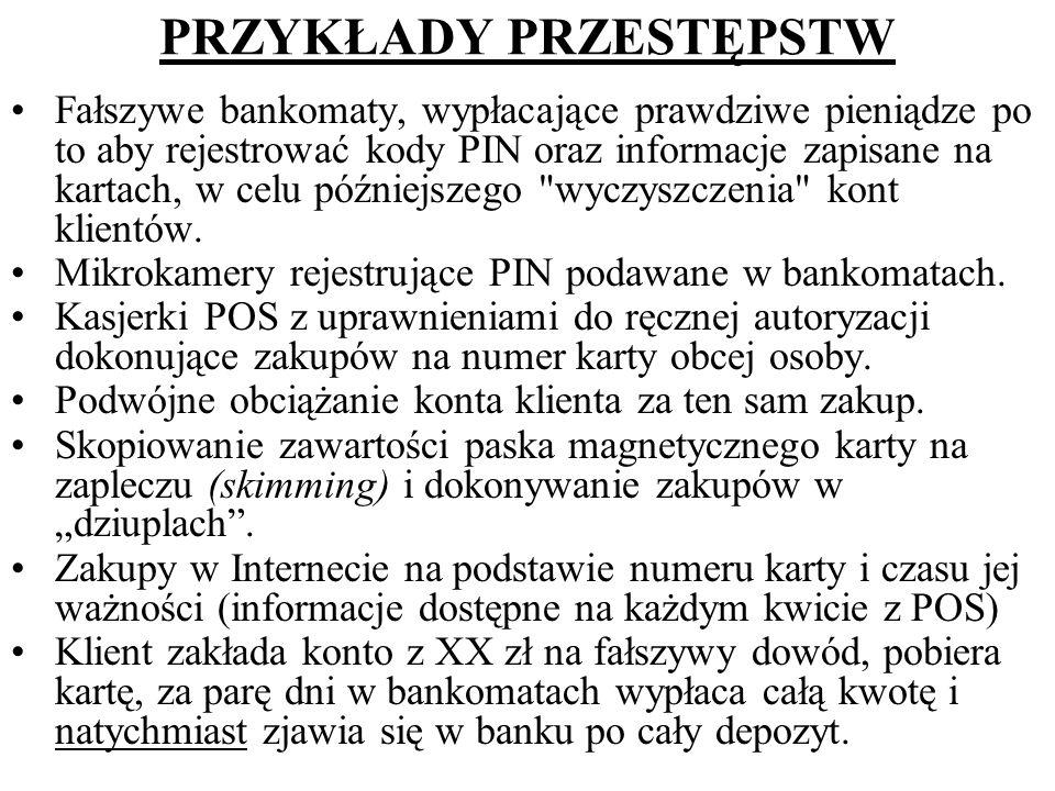 PRZYKŁADY PRZESTĘPSTW Fałszywe bankomaty, wypłacające prawdziwe pieniądze po to aby rejestrować kody PIN oraz informacje zapisane na kartach, w celu p