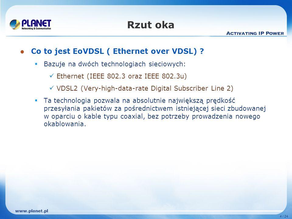 www.planet.pl 4 / 24 Rzut oka Co to jest EoVDSL ( Ethernet over VDSL) ? Bazuje na dwóch technologiach sieciowych: Ethernet (IEEE 802.3 oraz IEEE 802.3