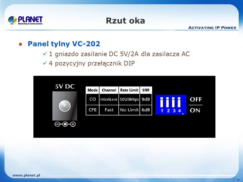 www.planet.pl 7 / 24 Rzut oka Panel tylny VC-202 1 gniazdo zasilanie DC 5V/2A dla zasilacza AC 4 pozycyjny przełącznik DIP