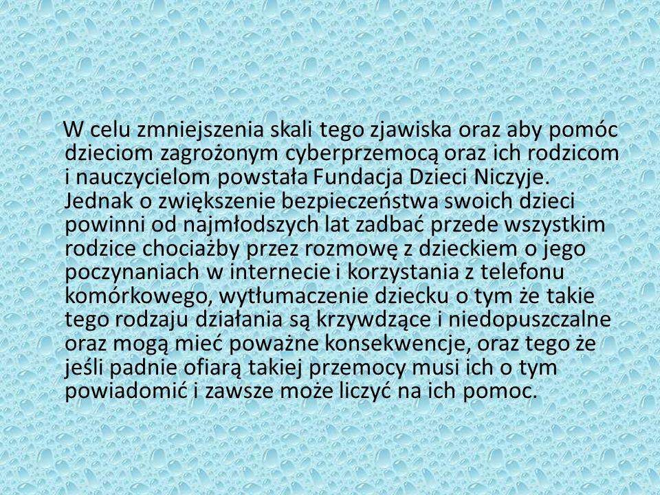 W celu zmniejszenia skali tego zjawiska oraz aby pomóc dzieciom zagrożonym cyberprzemocą oraz ich rodzicom i nauczycielom powstała Fundacja Dzieci Niczyje.