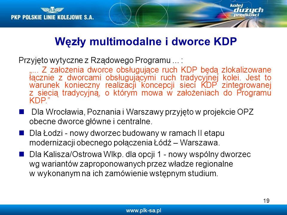 www.plk-sa.pl Węzły multimodalne i dworce KDP Przyjęto wytyczne z Rządowego Programu... :... Z założenia dworce obsługujące ruch KDP będą zlokalizowan